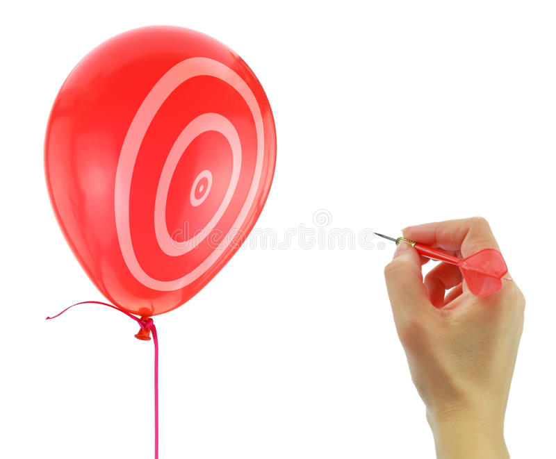 Dart about to pop a balloon. Isolated on white stock photos