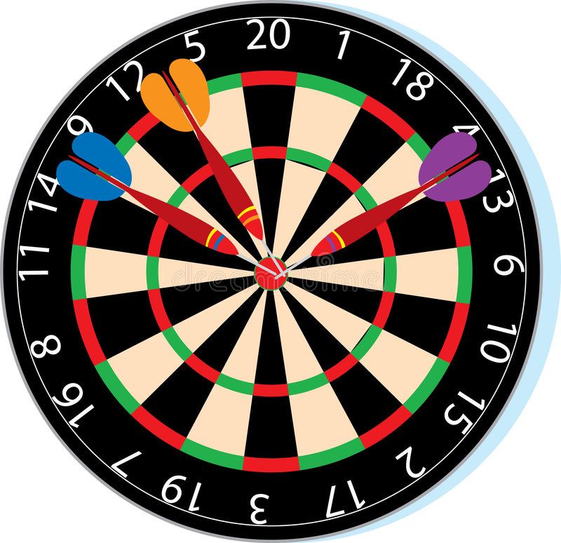 Dartboard. With three darts in the bullseye stock illustration