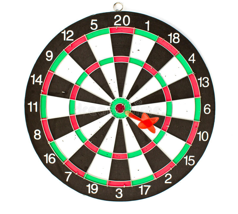 Dartboard. With Darts isolated on white background royalty free stock photos