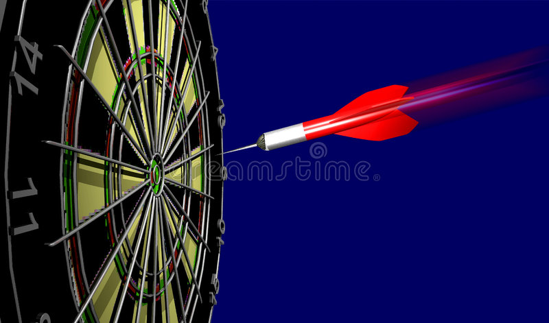 Dartboard. A computer-generated 3D render of a dartboard illustrating the BUSINESS CONCEPT: On Target stock image