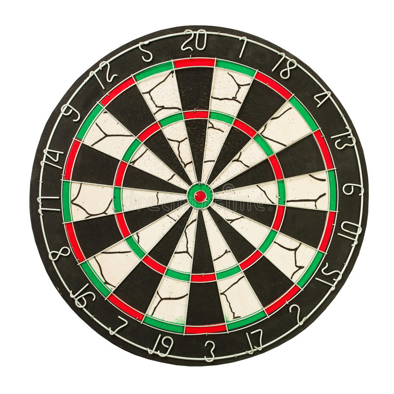 Dartboard. Front on white background stock images