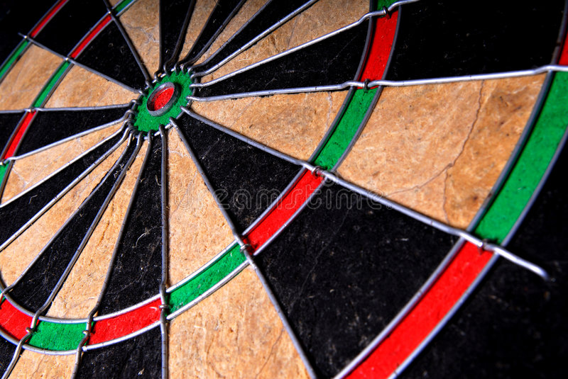 Dartboard. Close-up image of the centre or bullseye of a dartboard stock photos