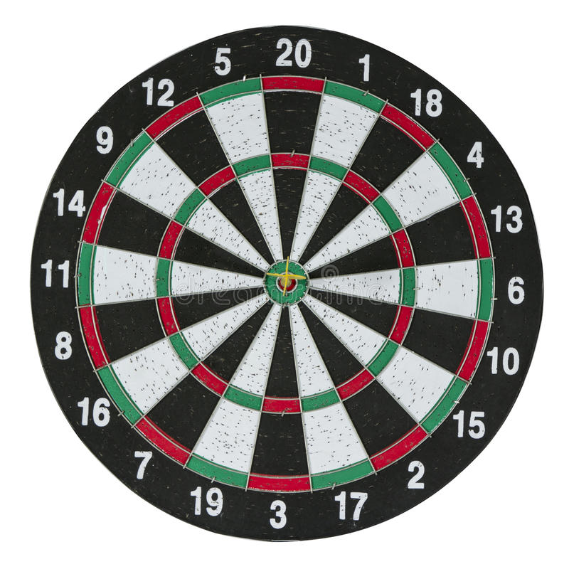 Dartboard. With arrow isolated on white stock images