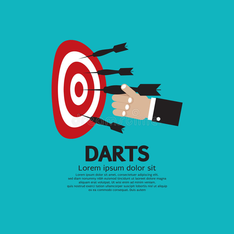 Dartboard with Darts. Dartboard with Darts in Hand Vector Illustration EPS10 stock illustration