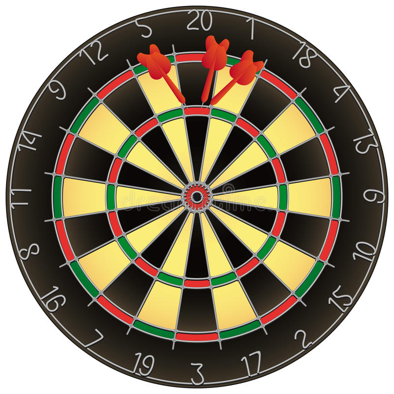 Download Dartboard With Darts Isolated Royalty Free Stock Photography - Image: 12382797