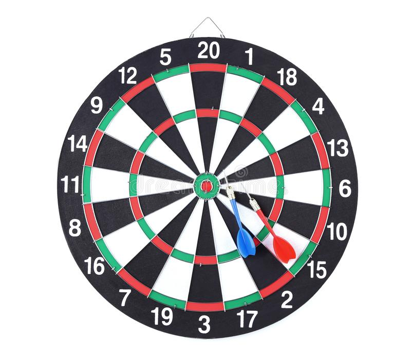 Dartboard with darts. Isolated on white background royalty free stock photography