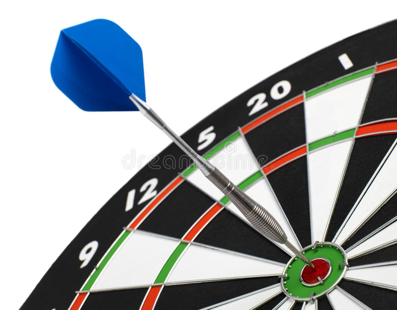 Dartboard. Isolated with dart in the bullseye stock photos