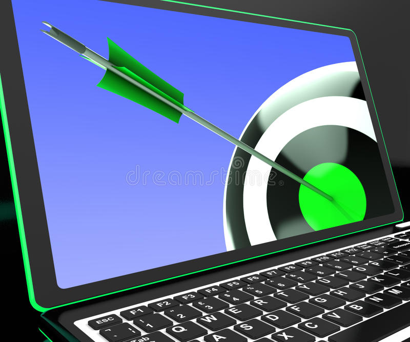 Dartboard On Laptop Showing Precise Aiming stock illustration