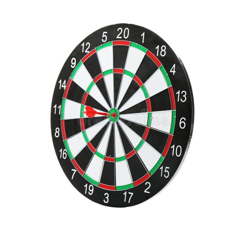 Dartboard met pijl die doel raken royalty-vrije stock afbeelding