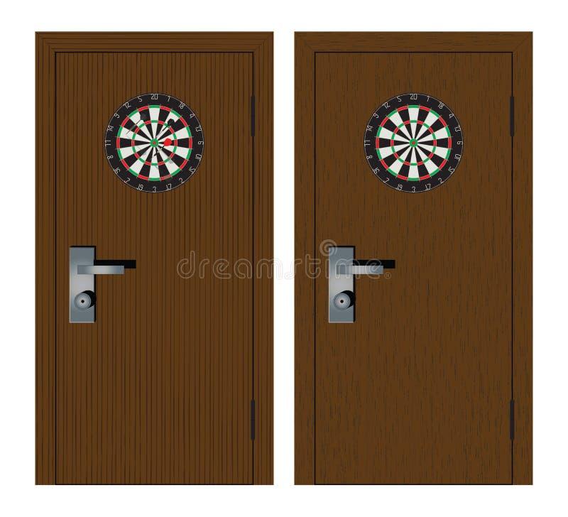 Dartboard op de deur stock foto's