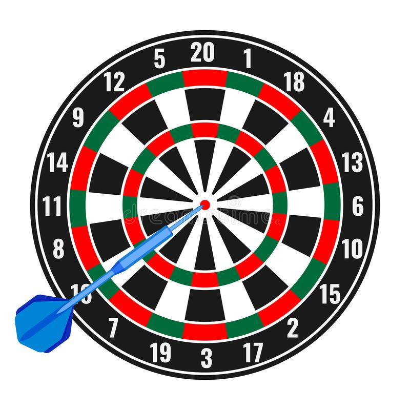 Dartboard with small missile arrow in goal realistic vector royalty free illustration