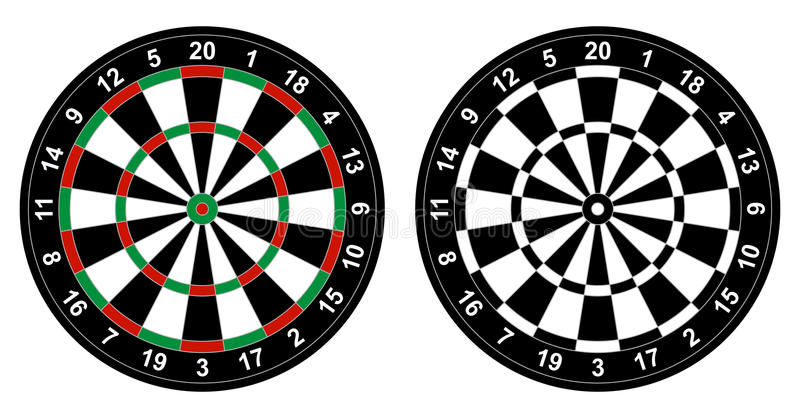 Dartboard. Vector illustration of color and black and white dartboard for darts game isolated on white background