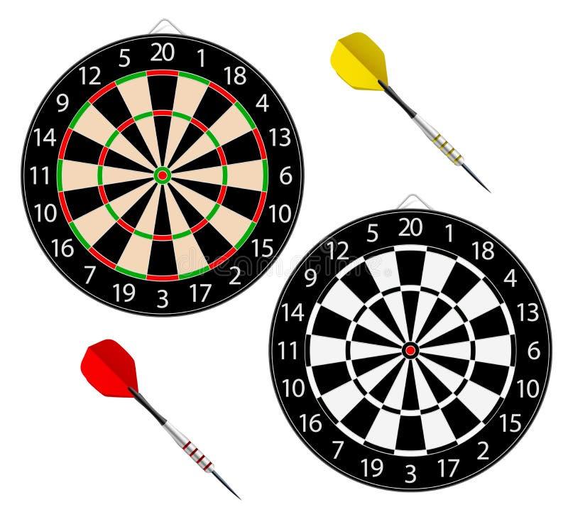Dartboards med två pilar stock illustrationer