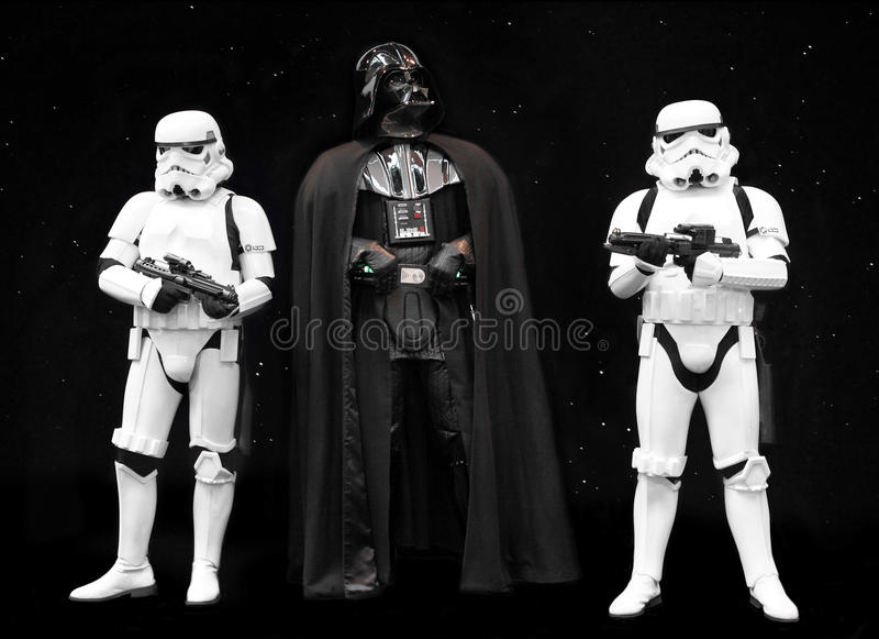 Darth Vader and Stormtroopers Star Wars. Darth Vader and a pair of Stormtroopers, characters from George Lucas Star Wars. Latest film Rogue One hits the cinemas