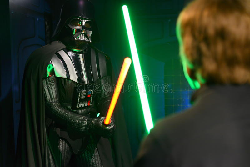 Darth Vader fighting Luke Skywalker - Madame Tussauds London stock photo