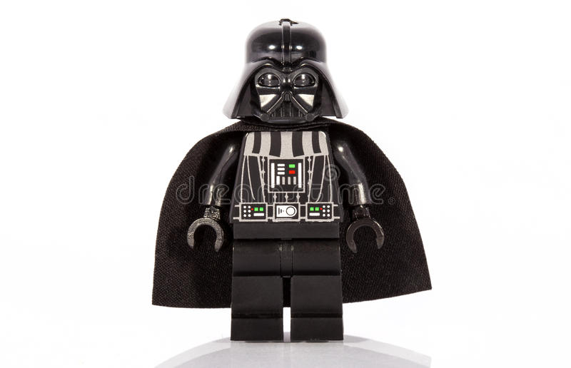 Darth Vader Lego Figure. LONDON, UK - OCTOBER 15TH 2015: A Lego minifigure toy of Star Wars character Darth Vader, on 15th October 2015 royalty free stock photos