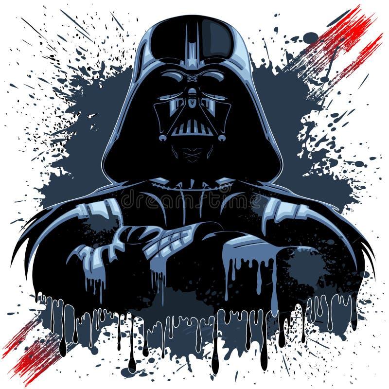 Darth Vader maskering på mörka målarfärgfläckar stock illustrationer