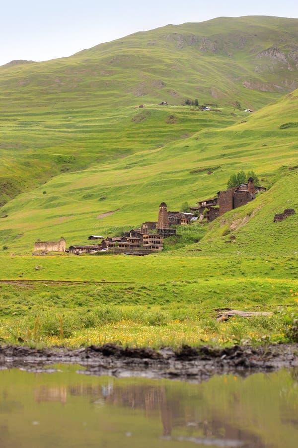 Dartlo village. Tusheti region (Georgia) royalty free stock photography