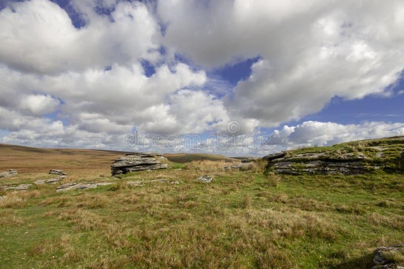 Dartmoor看法从更高的白色突岩的 免版税库存照片