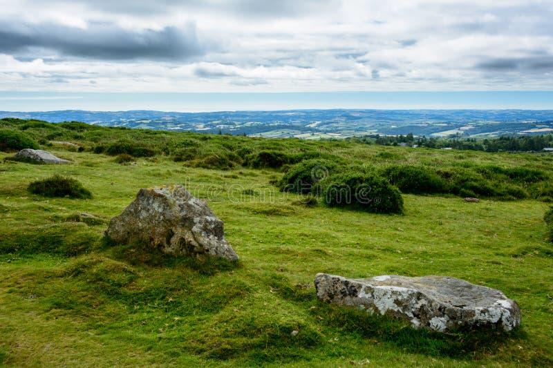 Dartmoor landscape, England - panorama royalty free stock image