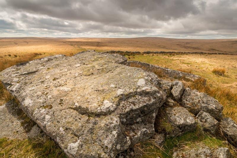 Dartmoor National Park. Ancient rocks and big skies over Dartmoor National Park stock images
