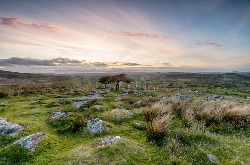Dartmoor National Park. Clouy sunset from Combestone Tor near Yelverton on Dartmoor in Devon royalty free stock images