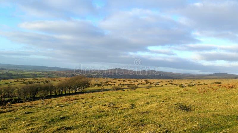 Dartmoor National Park heading towards Brentor. Over the moor stock images
