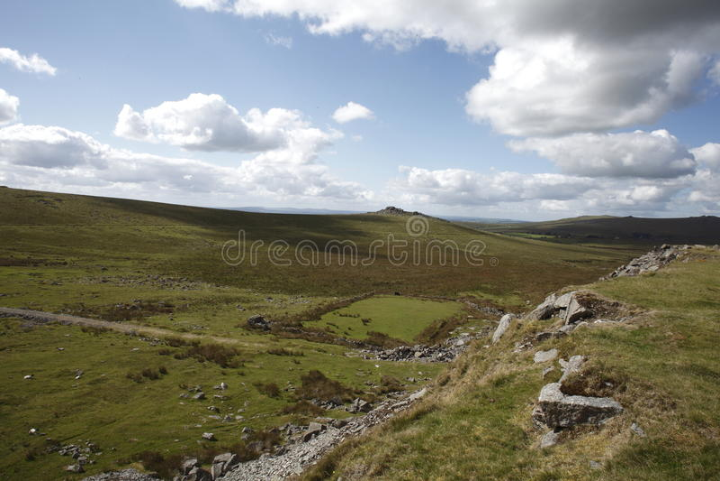 Dartmoor national park merrivale and vixen tor. Vixen tor on Dartmoor national park stock images