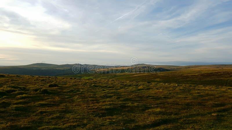 Dartmoor nationalpark Se in mot att fördunkla torvillebrådet arkivbild