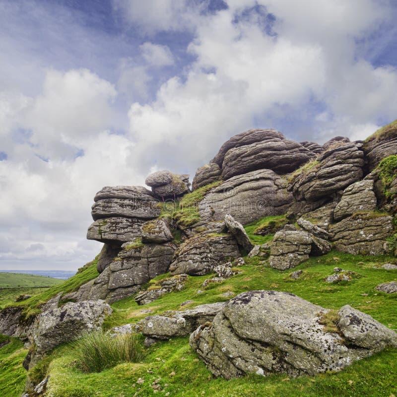 Dartmoor parka narodowego comberu Tor zdjęcia stock