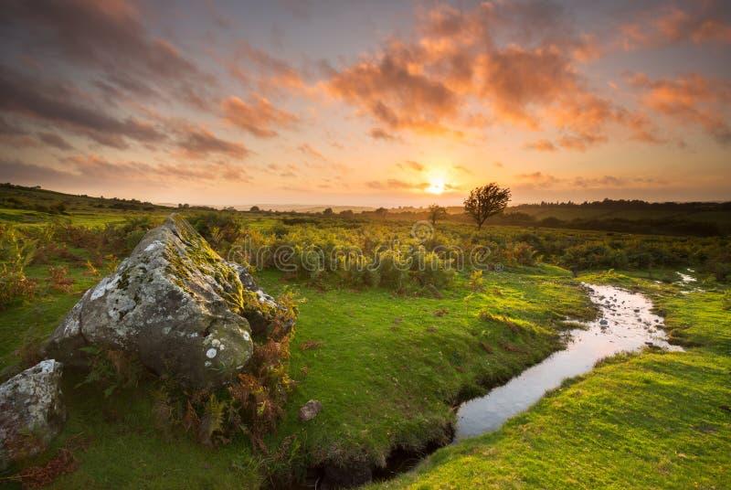 Dartmoor-Sonnenuntergang lizenzfreie stockbilder