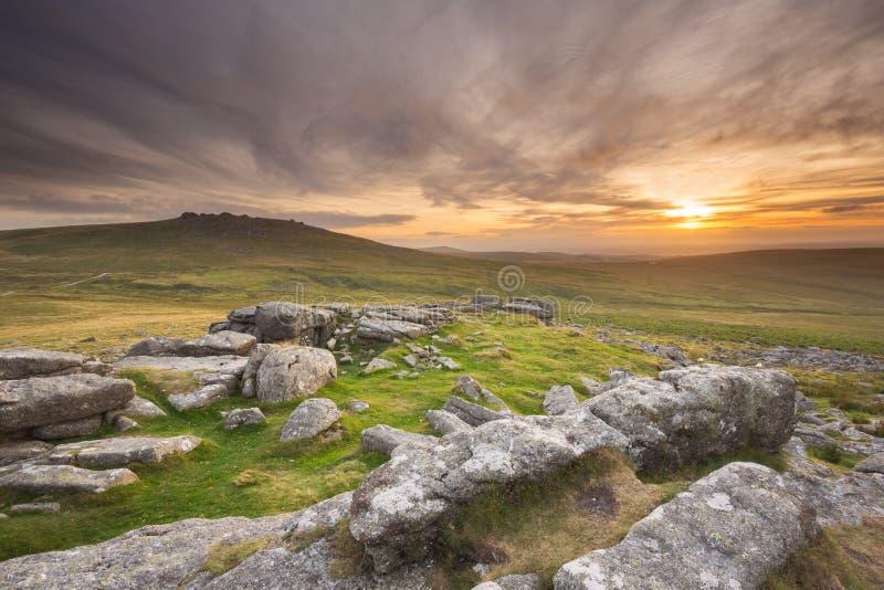 Dartmoor Sunset stock images