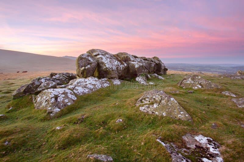 Dartmoor wschód słońca fotografia stock