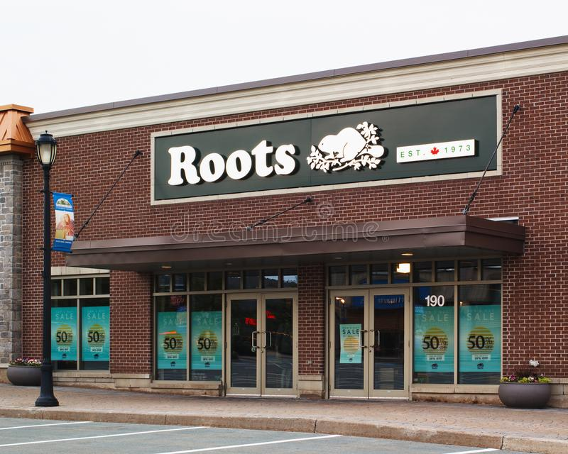 Roots Canada Store. Dartmouth, Canada - July 19, 2018: Roots Canada storefront. Roots is a Canadian retail brand selling various types of apparel, leather goods stock photography