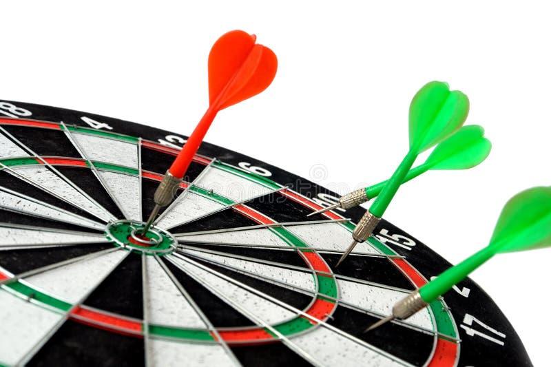 Darts. Red dart hit the mark stock image