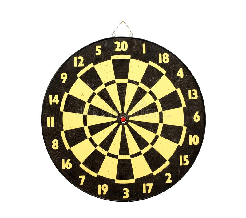 Darts. Used darts board isolated on white background royalty free stock image