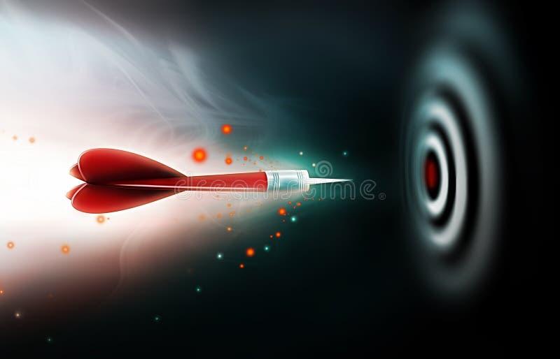 Darts. Shot of darts in bullseye on dartboard on a dark background