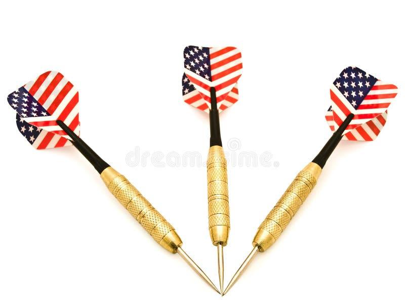 Darts. Photo of three darts over the white background royalty free stock photo