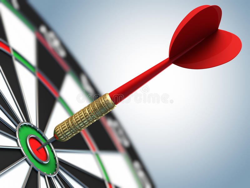 Darts arrow in bulls-eye vector illustration
