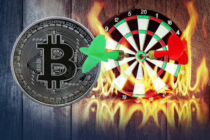 Darts arrow on dartboard with golden bitcoin wooden with flames and smoke dust stock illustration