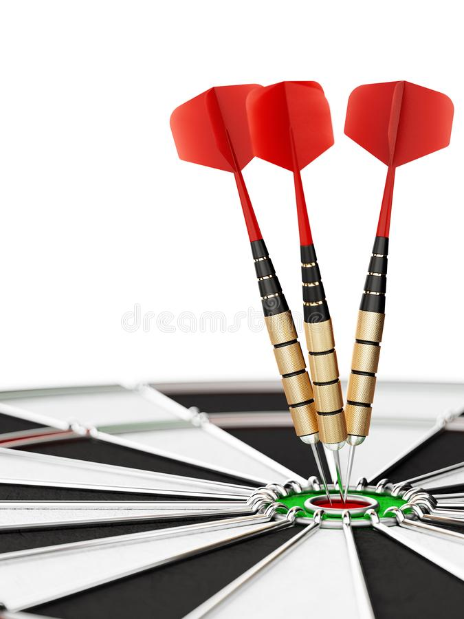 Darts arrows in the target center royalty free illustration