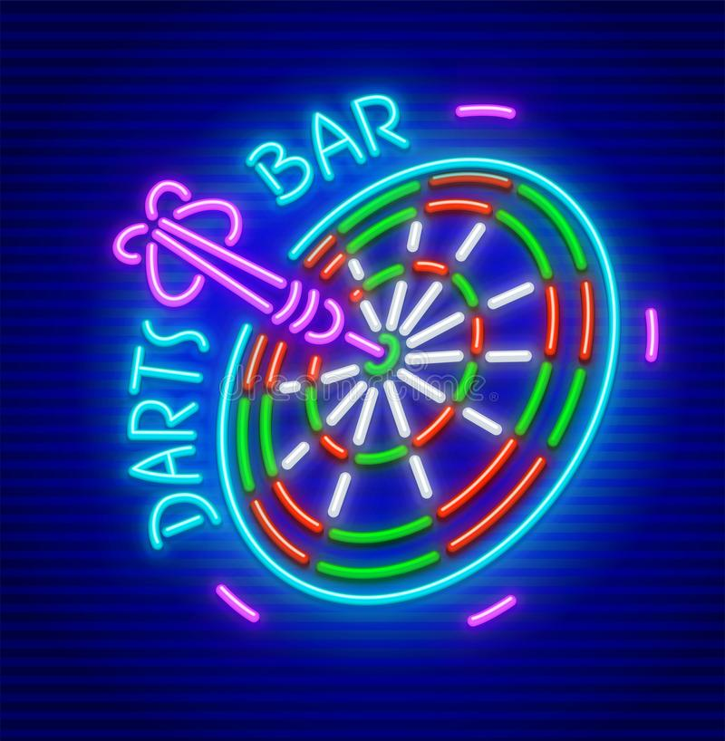 Darts bar neon sign icon. Darts bar. Neon sign for darts game playing place. Neon icon for entertainment facility. EPS10 vector illustration vector illustration