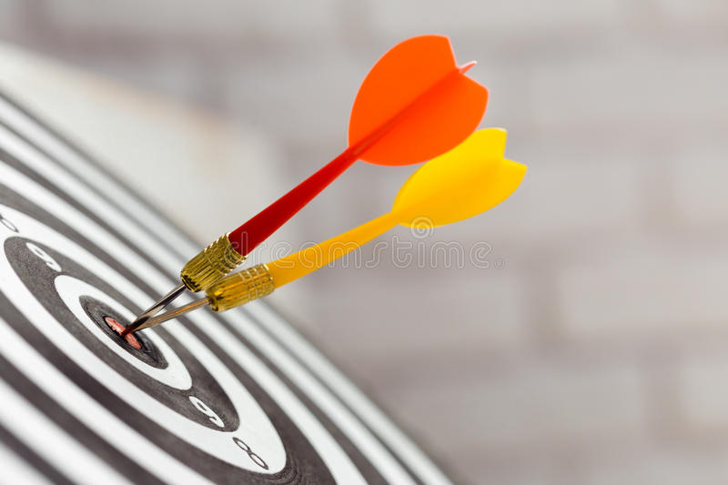 Darts board. Darts arrows in the target center royalty free stock photography