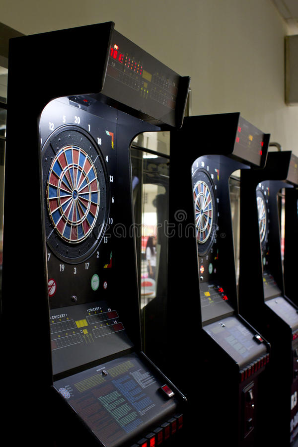 Darts boards in games area. Darts boards with electronic scoring in games area stock image