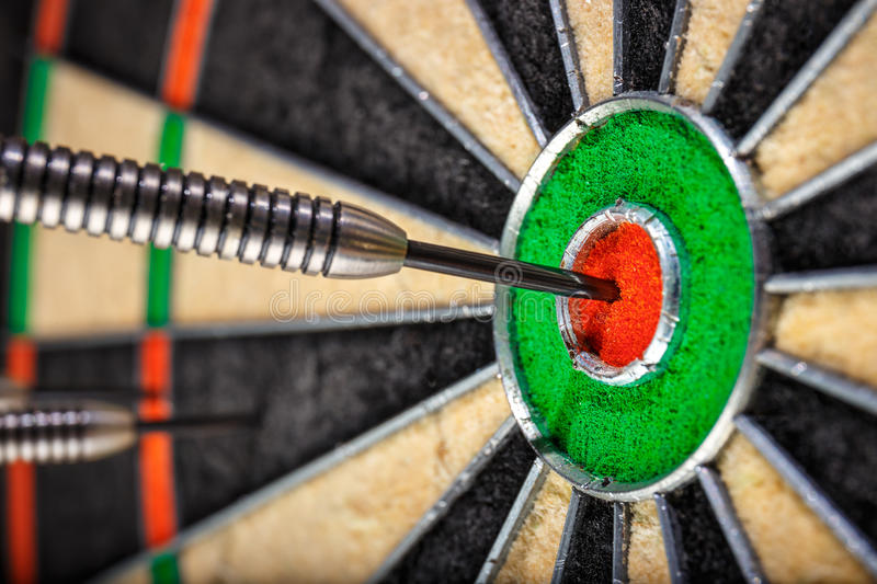 The darts in bull`s eye royalty free stock images