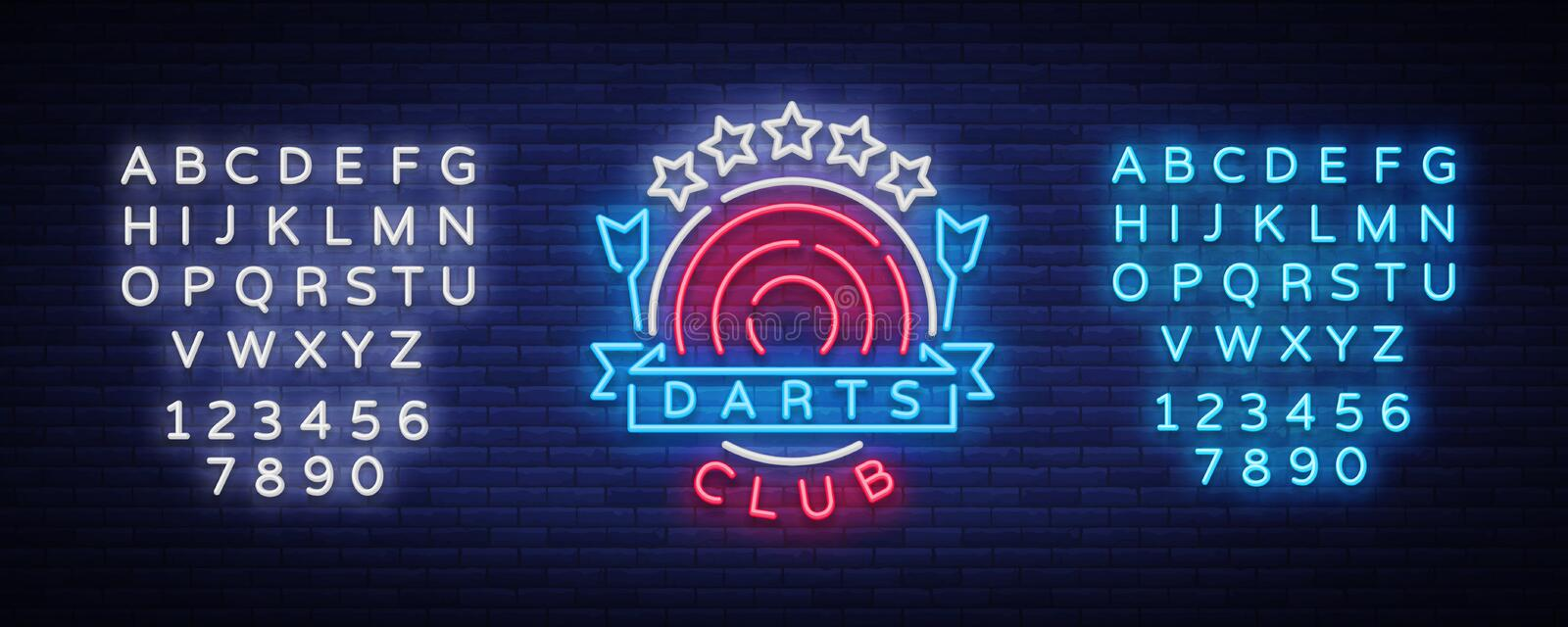 Darts Club Logo in Neon Style. Neon Sign, Bright Night Advertising, Light Banner. Vecton illustration. Editing text neon. Sign stock illustration