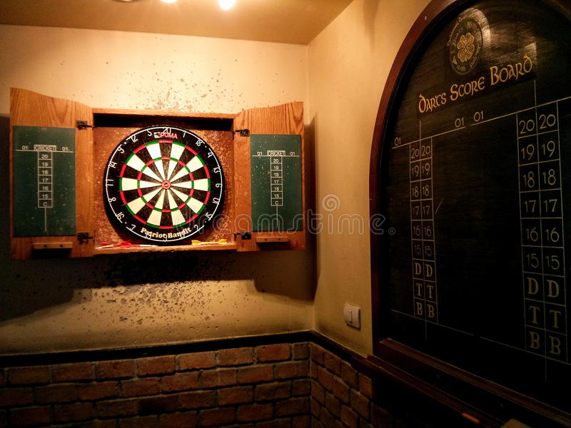 Darts game. In the bar royalty free stock images