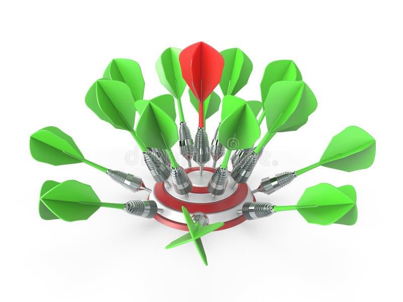 Darts hitting a target 3D royalty free illustration