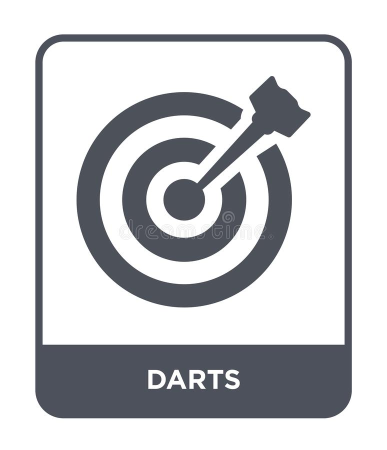 Darts icon in trendy design style. darts icon isolated on white background. darts vector icon simple and modern flat symbol for. Web site, mobile, logo, app, UI stock illustration
