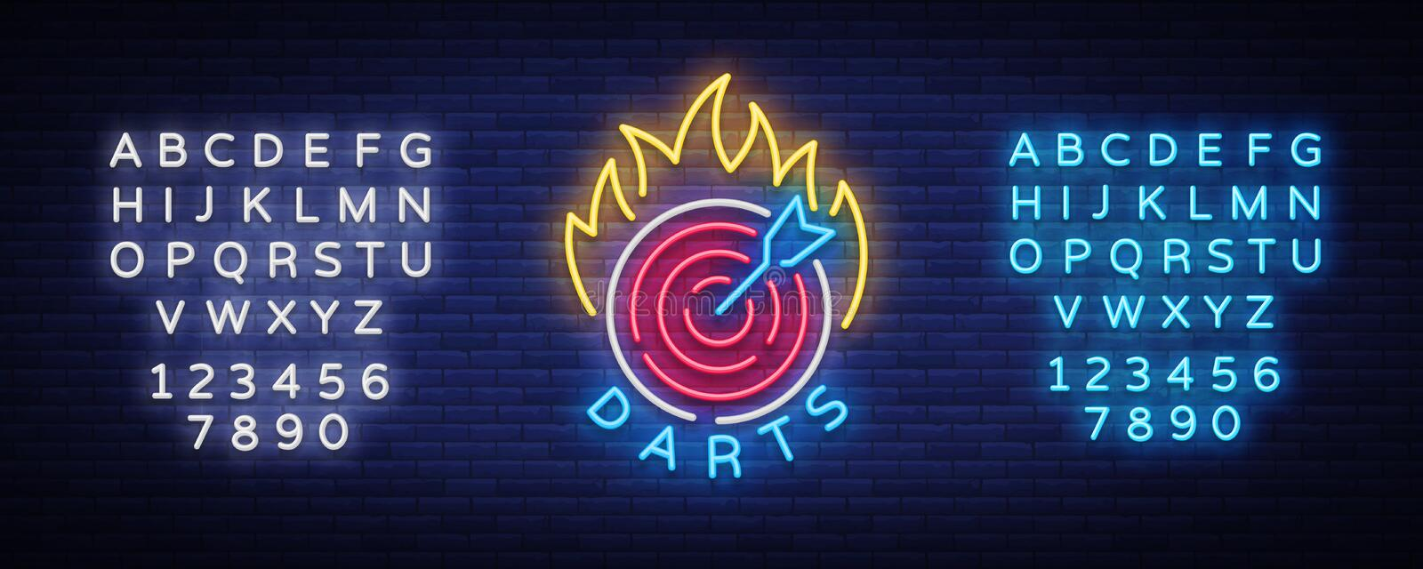 Darts Logo in Neon Style. Neon Sign, Bright Night Advertising, Light Banner. Vecton illustration. Editing text neon sign.  vector illustration